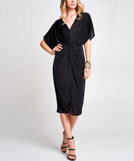 1025aea33828 Love, Kuza Black Drape-Front Kimono-Sleeve Midi Dress - Women | Zulily