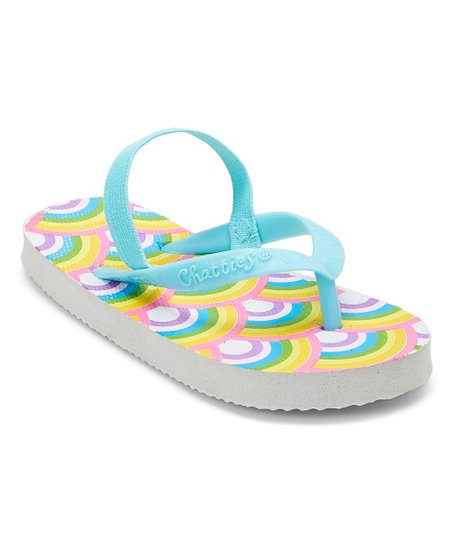 de0b1128f love this product Blue   Yellow Rainbow Flip-Flop - Girls
