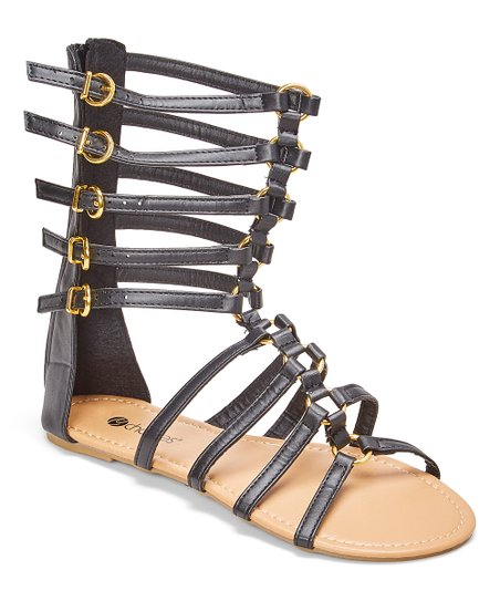 aa83b07c014 love this product Black   Gold Five-Buckle Gladiator Sandal - Women
