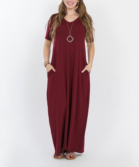 dac9714abf47 love this product Dark Burgundy V-Neck Short-Sleeve Pocket Maxi Dress - Plus