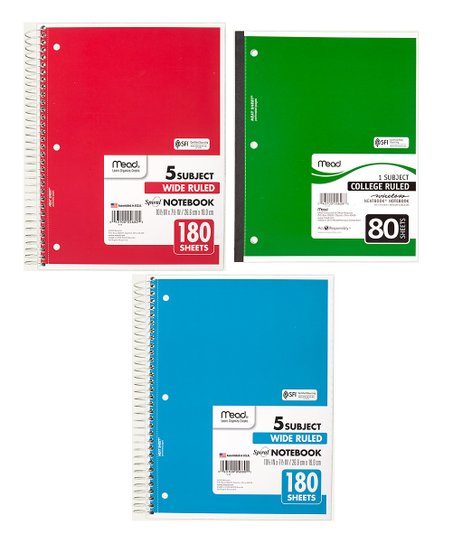Five Star Five-Subject Wide-Ruled 180-Pg  Spiral® Notebook - Set of 12