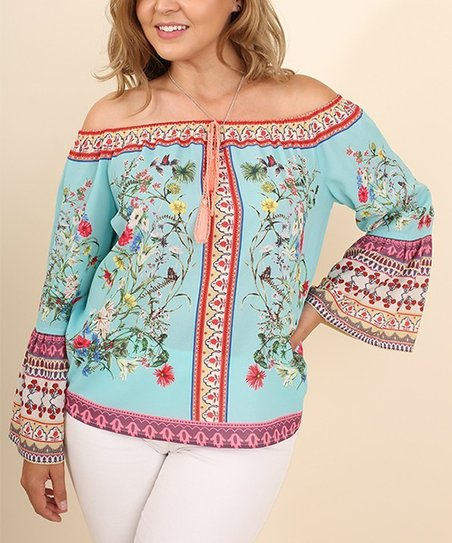 8a6f8ae414f903 love this product Mint   Pink Scarf Print Off-Shoulder Top - Women