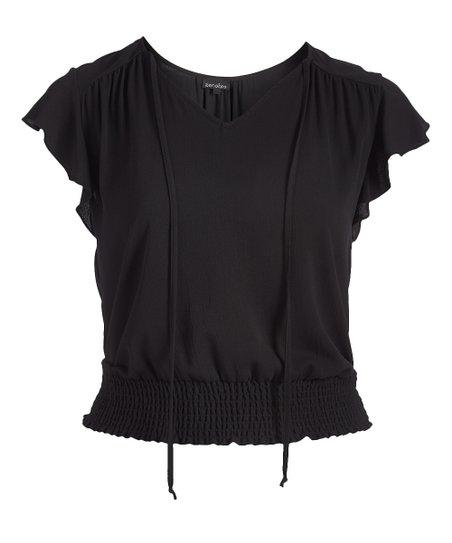 cb9f7c5f623 love this product Black Tie-Neck Shirred Cap-Sleeve Top - Plus
