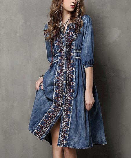 6ea7423eb6 Keer Qiaowa Blue Denim Embroidered Button-Front Midi Dress - Women ...