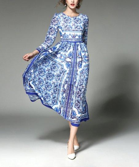 e748210044c51 Kaimilan Blue & White Floral Midi Dress - Women | Zulily