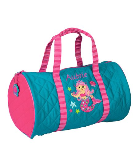 0e621dbd5e Teal   Pink Personalized Mermaid Quilted Duffle Bag