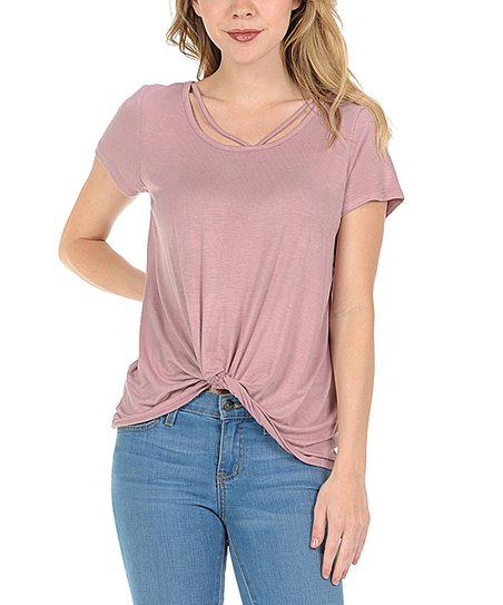 a277888fb95d love this product Blush Knot-Hem Scoop Neck Tee - Women