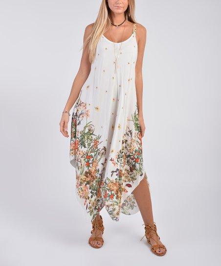 052ec53c6dd love this product White   Peach Floral Handkerchief Dress - Women