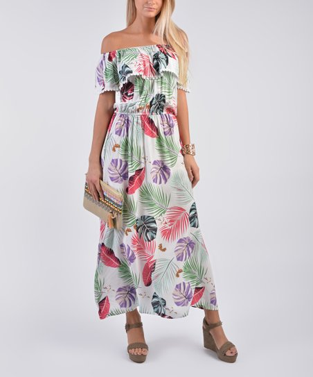 fc5ac3591e10 love this product White Floral Ruffle Off-Shoulder Maxi Dress - Women