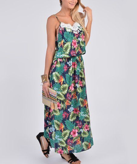 a61c45753b love this product Navy   Green Floral Blouson Maxi Dress