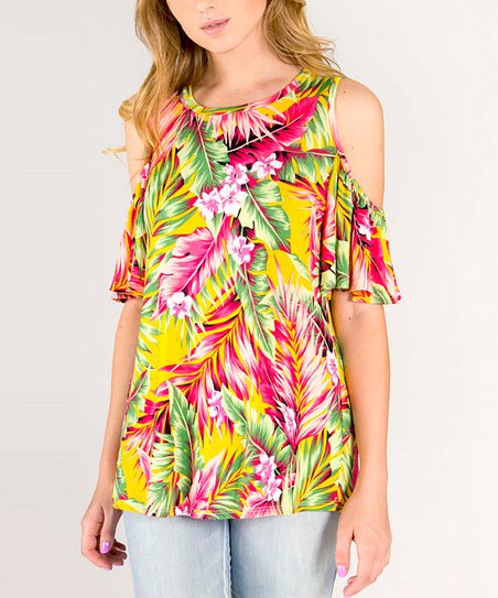 59427e7b18648a love this product Yellow Floral Ruffle Cold Shoulder Top - Women