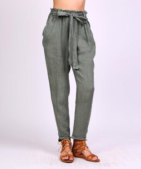 Jnj Couture Khaki High Waist Belted Linen Pants Women Zulily