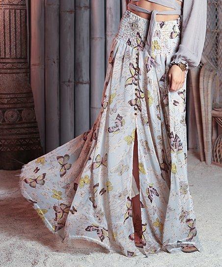 95126d95f27c Z&L Europe Pastel Butterfly Smocked Maxi Skirt - Women | Zulily