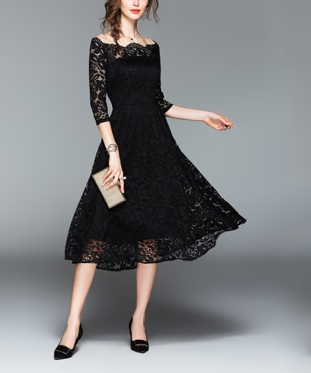 Vicky And Lucas Black Lace Fit Flare Dress Women Zulily