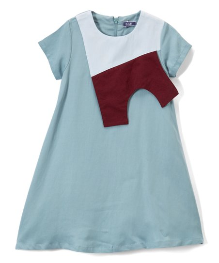4d025092ecd love this product Teal Color Block Panel Linen-Blend T-Shirt Dress -  Toddler   Girls