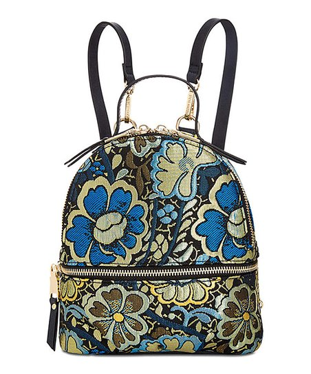 Steve Madden Blue & Gold Floral Mini Backpack