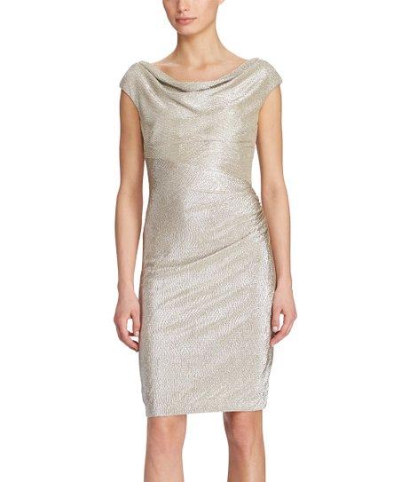 Gold Metallic Cowl Neck Dress Women