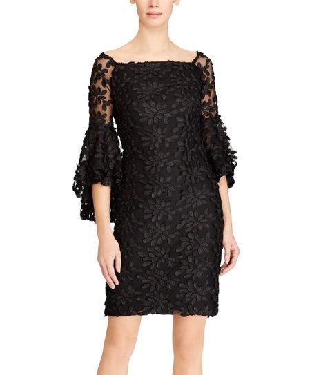 784e9ba14015 Lauren Ralph Lauren Black Floral Mesh Bell-Sleeve Dress - Women | Zulily