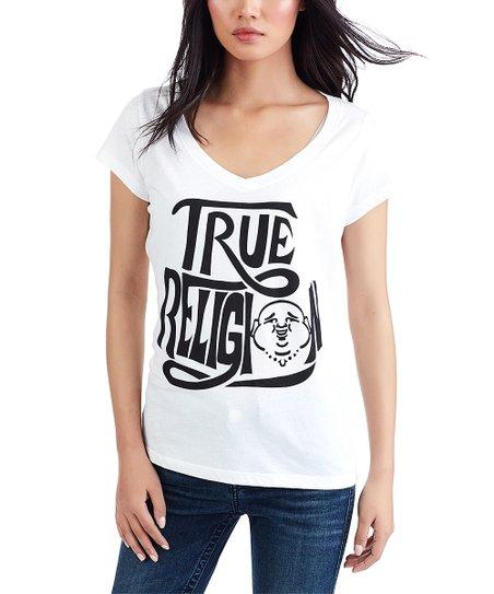 535c363d love this product White 'True Religion' Vintage Buddha Round V-Neck Tee -  Women