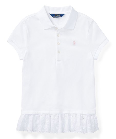 ab3aa9d95 love this product White Eyelet-Hem Mesh Polo Shirt - Juniors