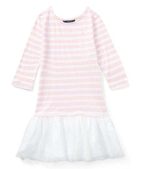 61dd0bfb9 Polo Ralph Lauren Hint of Pink   White Stripe Jersey T-Shirt Dress ...