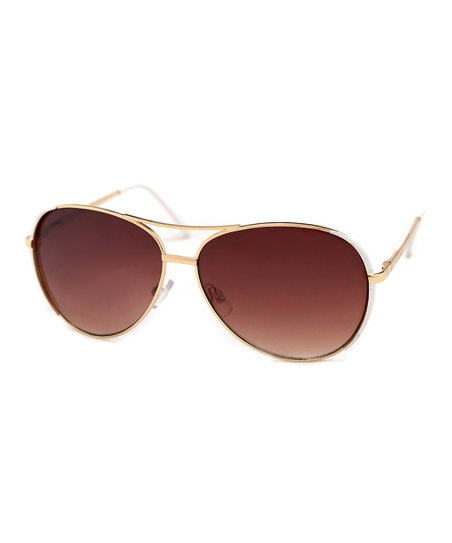 a20c844a74b1 A.J. Morgan Gold & White Sidelines Aviator Sunglasses | Zulily