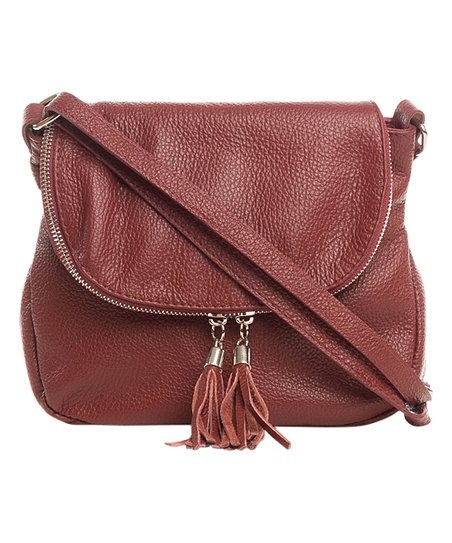 fe5bc9835df love this product Red Double-Tassel Leather Crossbody Bag