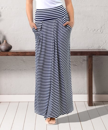 skate shoes 2019 best sell new concept Lada Lucci Navy & White Stripe Maxi Skirt - Women & Plus