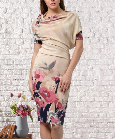 Beige Pink Fl Drape Dress Women