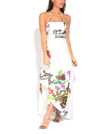 56d8327b27e love this product White Floral Halter Maxi Dress - Women