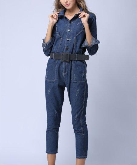 9fce83c1db Coeur de Vague Dark Blue Denim Crop Jumpsuit - Women