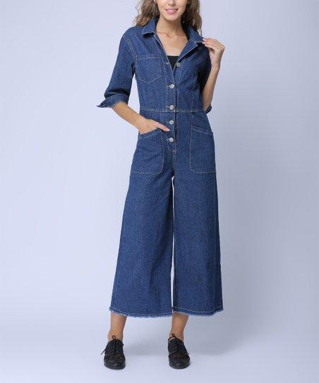 a77fc67ce5 Coeur de Vague Dark Blue Wide-Leg Denim Crop Jumpsuit - Women