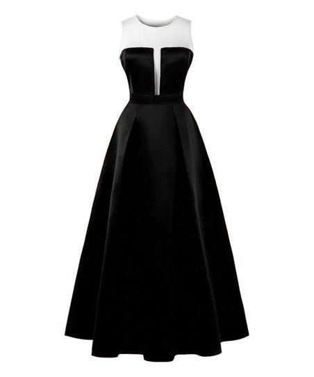 Sucrefas Black Illusion Neckline Gown Zulily