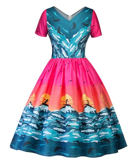 835aa3ccf607ab love this product Blue   Pink Ocean Scene Short-Sleeve Fit   Flare Dress -  Women