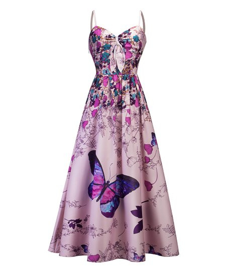 4514ee5d4b03 love this product Pink & Purple Floral Butterfly Midi Dress - Women