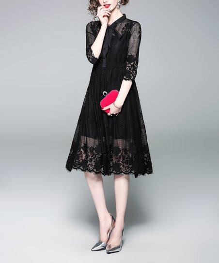 71aa76eabe6 Coeur de Vague Black Lace Midi Dress - Women