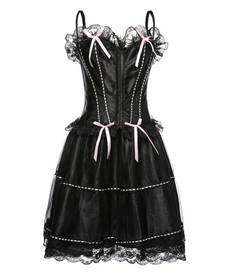 Womens Black Petticoat with Pink Trim
