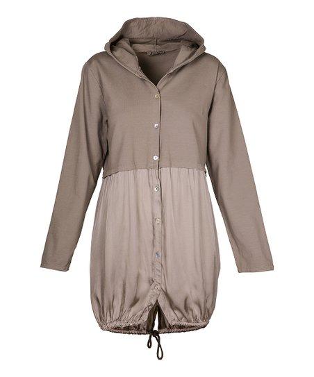 5109d44f0 Own It Khaki Color Block Button Hoodie - Women   Zulily