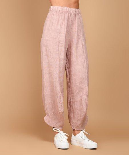 1615054e0a40e love this product Pink Linen Trouser Pants - Plus
