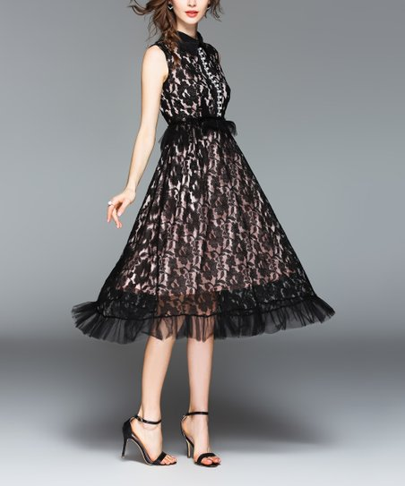 865f132f Coeur de Vague Black Floral Lace A-Line Dress - Women | Zulily