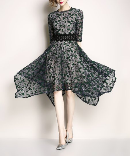 d6306468848 love this product Black   Green Floral Lace-Overlay Handkerchief Dress -  Women