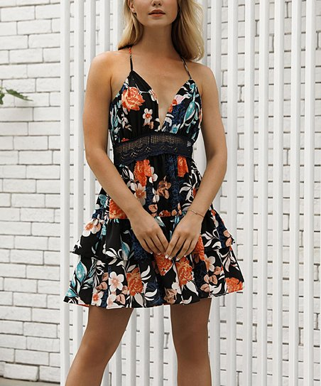 879fcb86d00 Sucrefas Black Floral Tiered-Hem Sleeveless Dress - Women