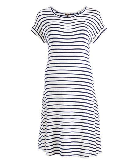 34d95026f1 love this product Navy   Ivory Stripe Maternity Nursing T-Shirt Dress