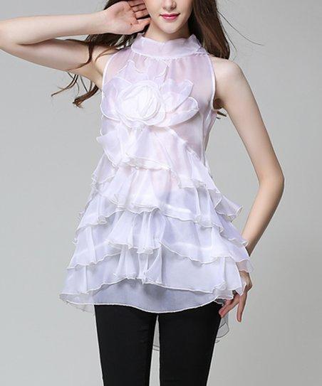 c75c47b1e81c61 love this product White Ruffle Flower Sleeveless Top - Women