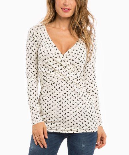 e14a2c42f30fc Envie de Fraise White Fiona Maternity/Nursing Long-Sleeve Top | Zulily
