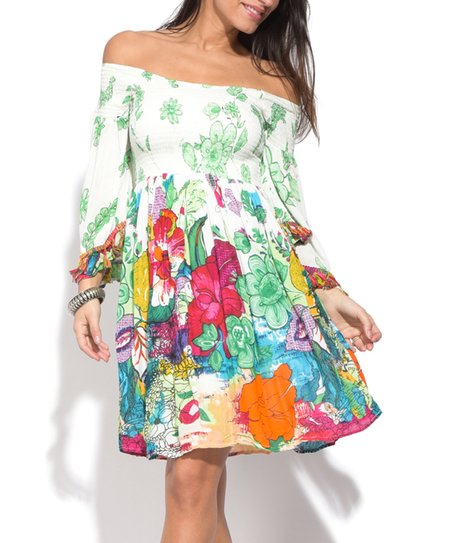 e5ce821f0d love this product Off-White   Green Floral Smocked Off-Shoulder Dress -  Women