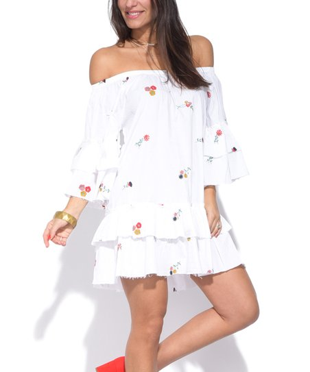 28a9c6614b74 Peace and Love White Mini-Floral Ruffle Off-Shoulder Dress - Women ...