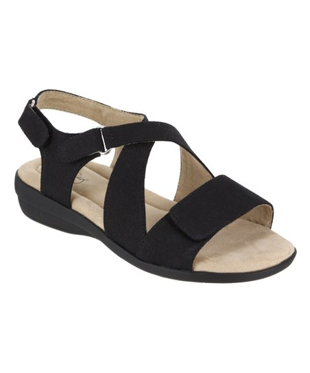 MIA AMORE Black Terry Wide-Width Sandal