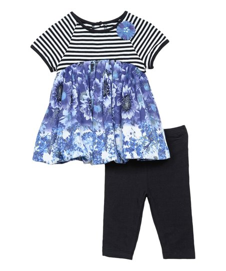 332f4f8183219f love this product Black & Blue Stripe & Floral Tunic & Capri Leggings -  Newborn & Infant