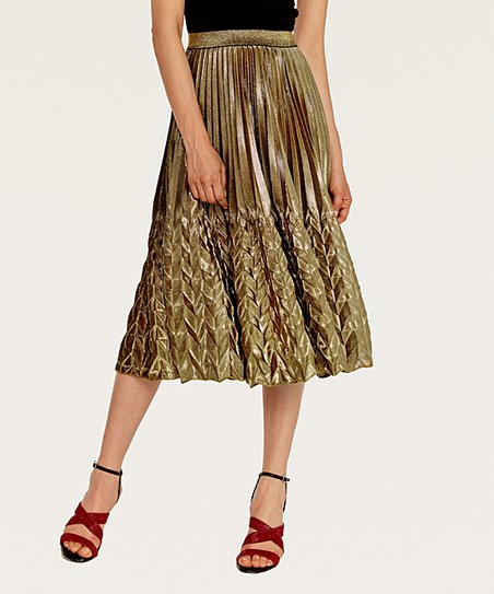 817ce8c394cb Coeur de Vague Golden Metallic Pleated Midi Skirt - Women | Zulily